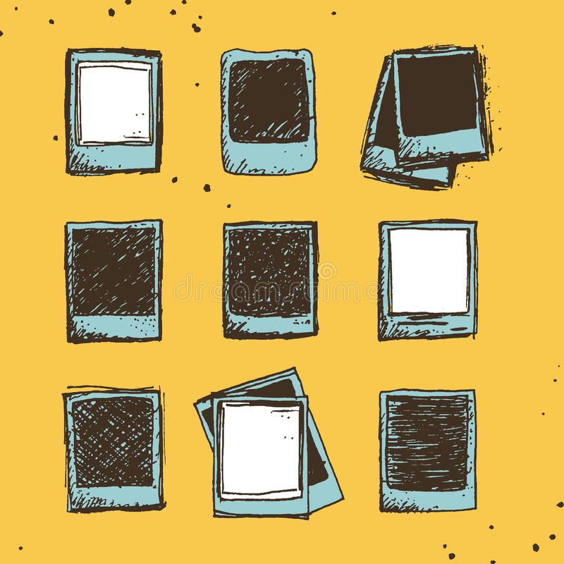 De reeks van 9 overhandigt getrokken schetsmatige polaroidkrabbels in uitstekende kleuren vector illustratie