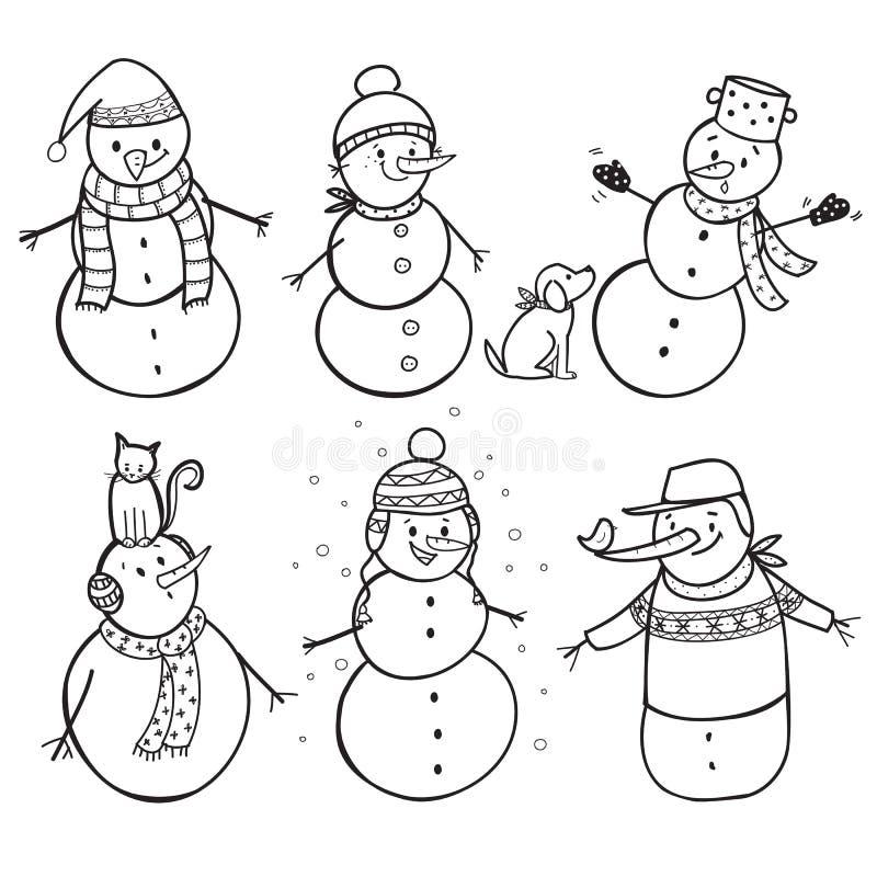 De reeks van 6 overhandigt getrokken sneeuwman royalty-vrije illustratie