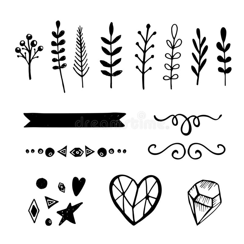 De reeks van 15 overhandigt getrokken vector decoratieve elementen voor uw ontwerp royalty-vrije illustratie