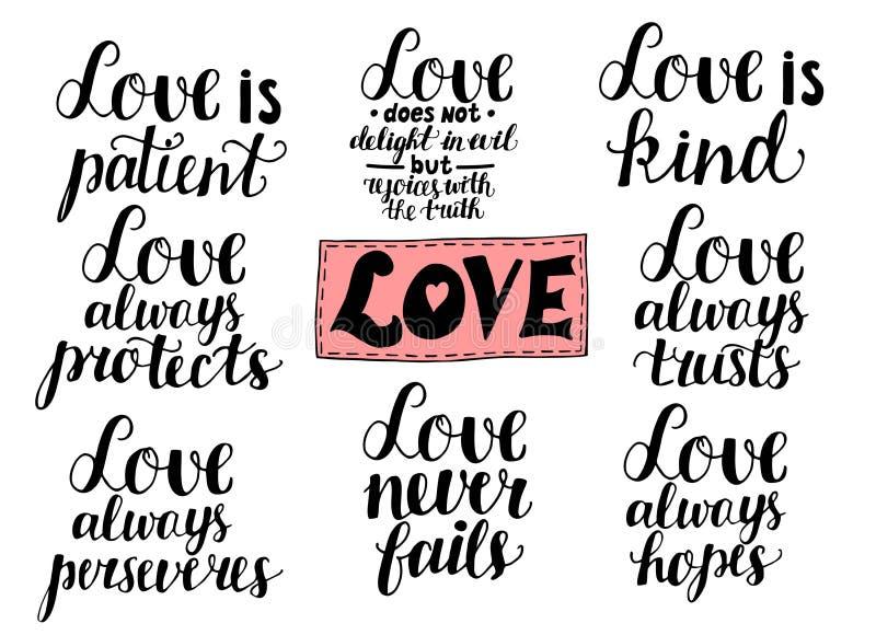 De reeks van 8 overhandigt het van letters voorzien citaten over liefde van Corinthians vector illustratie