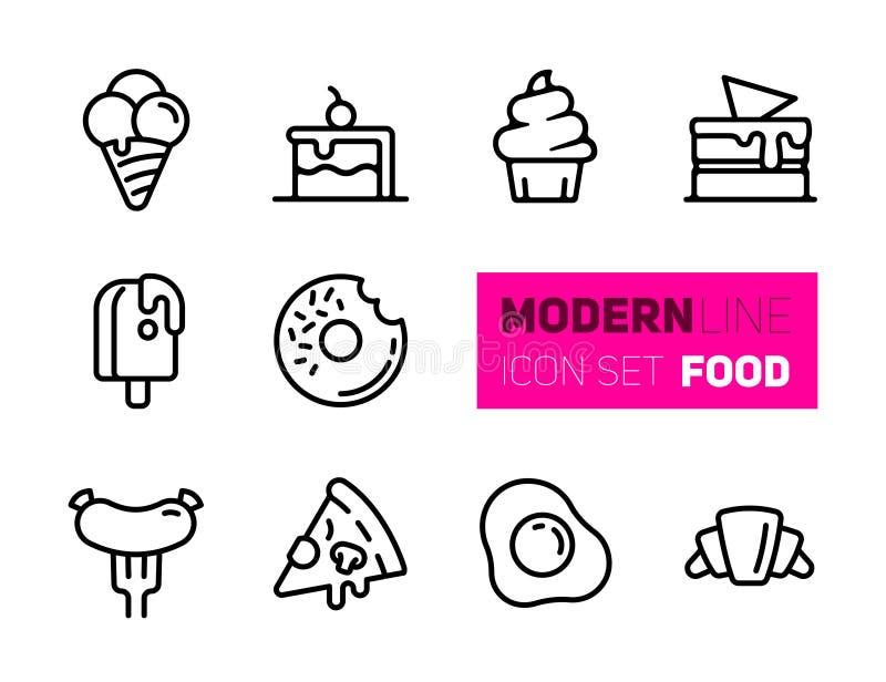De reeks van overzichtspictogrammen van straatvoedsel royalty-vrije illustratie