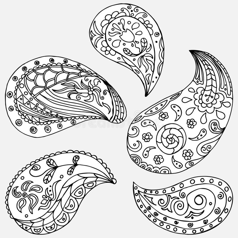 De reeks van Paisley vector illustratie