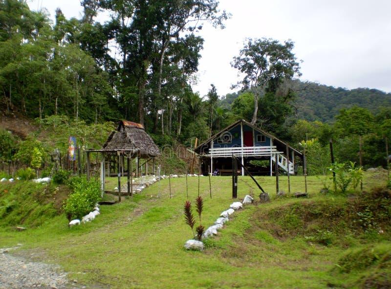 De reeks van Panama en Costa Rica-, Levensomstandigheden, blokhuis royalty-vrije stock afbeeldingen