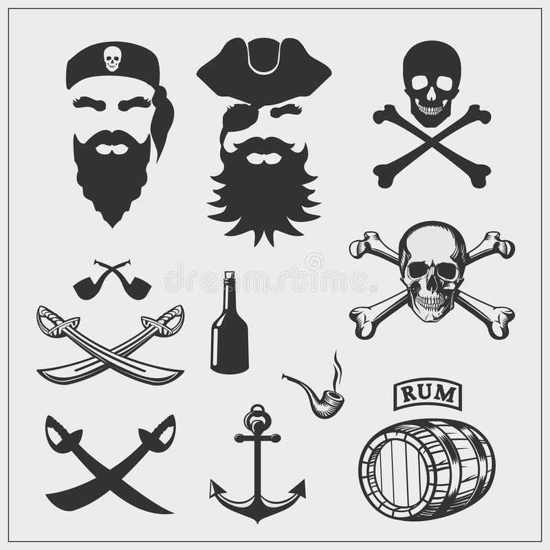 De Reeks van de piraat Vectorpiraatemblemen en ontwerpelementen stock illustratie