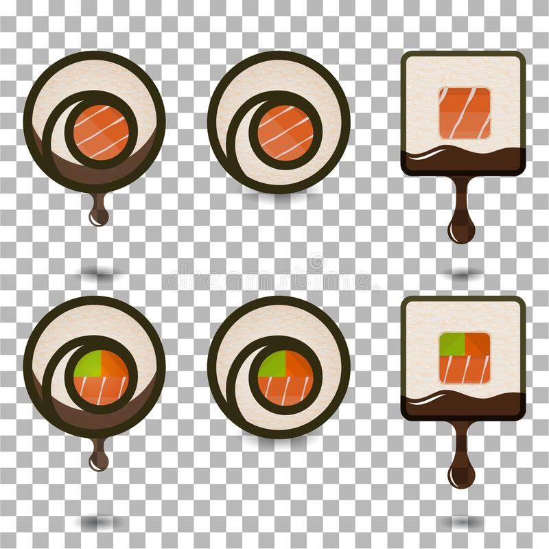 De reeks van 6 plakkensushi rolt logotypes vector illustratie