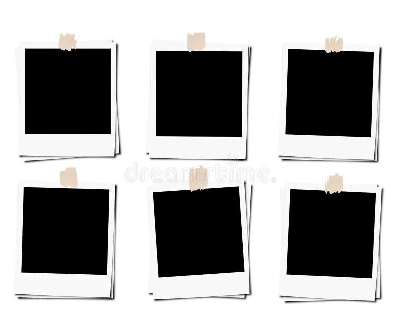 De reeks van polaroidfoto filmt kader met band, op witte achtergronden wordt geïsoleerd die stock foto's