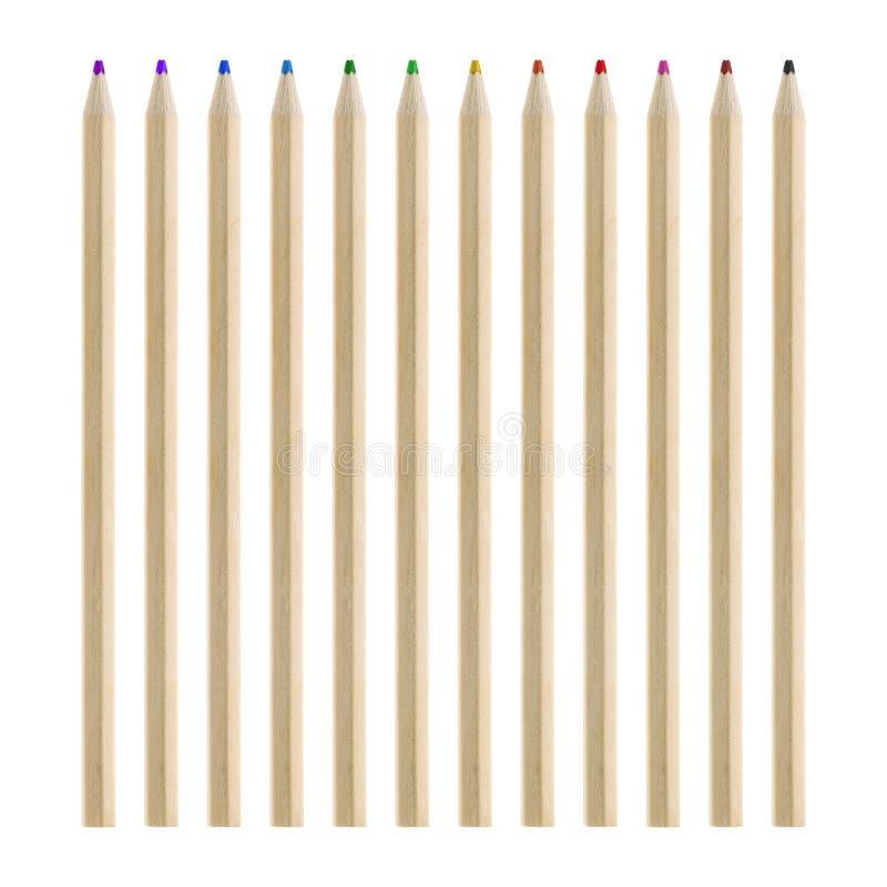 De reeks van de potlodenkleur op witte achtergrond wordt geïsoleerd die Houten kleuren voor uw ontwerp Knippende weg stock foto