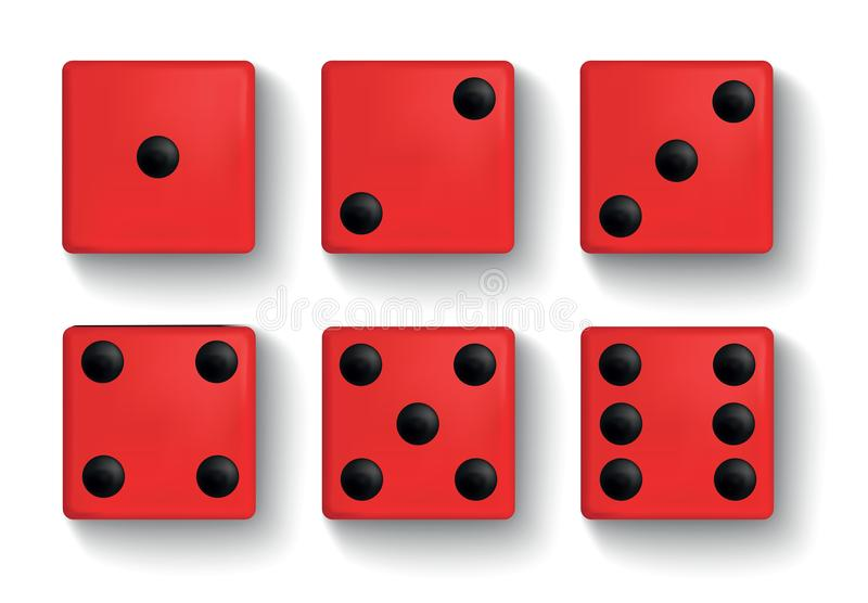 De reeks van realistisch rood dobbelt op witte achtergrond vector illustratie