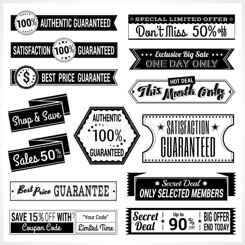 De reeks van retro de verkoop en de waarborgmarkeringsbanner van de bevorderingskorting etiketteert het lint van de kentekenstick vector illustratie