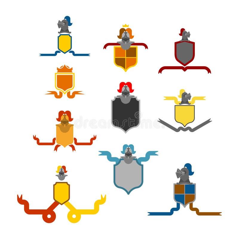 De reeks van ridderhelmet heraldic shield Het ontwerp van de malplaatjewapenkunde elem stock illustratie