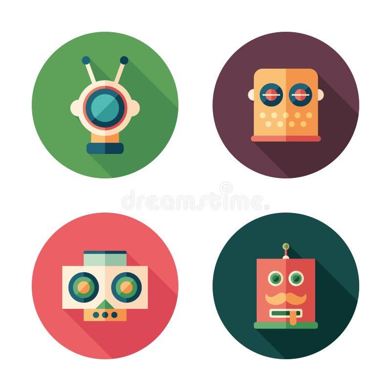 De reeks van robot leidt vlakke ronde pictogrammen met lange schaduwen stock illustratie