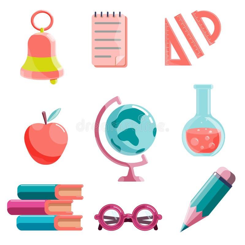 De reeks van school levert pictogram Vectordieillustraties op witte achtergrond worden geïsoleerd vector illustratie