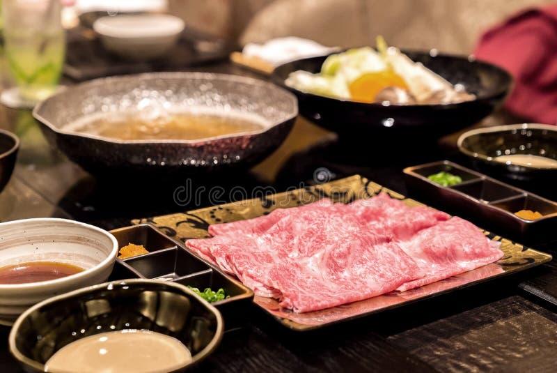 De Reeks van Shabu van het Matsusakarundvlees royalty-vrije stock foto's