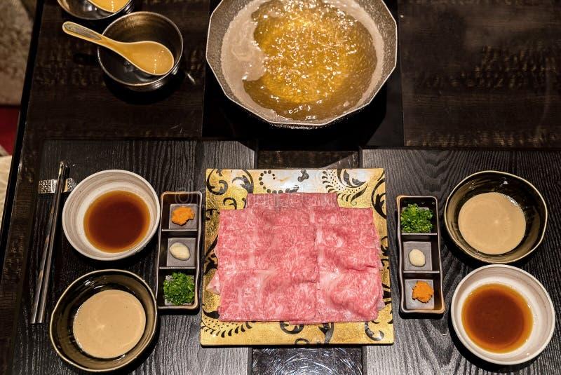 De Reeks van Shabu van het Matsusakarundvlees royalty-vrije stock afbeelding