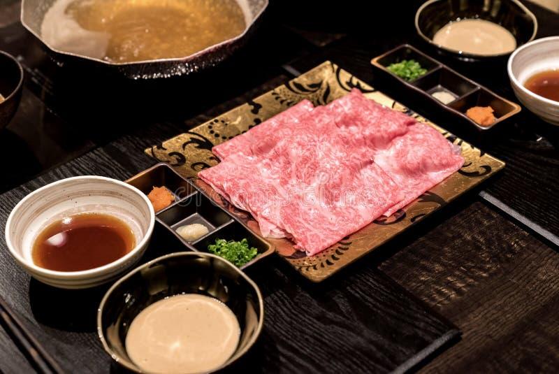 De Reeks van Shabu van het Matsusakarundvlees stock foto