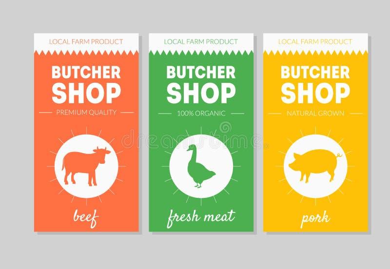 De Reeks van slagersshop packaging labels, Rundvlees, Vers Vlees, Varkensvlees Vectorillustratie vector illustratie