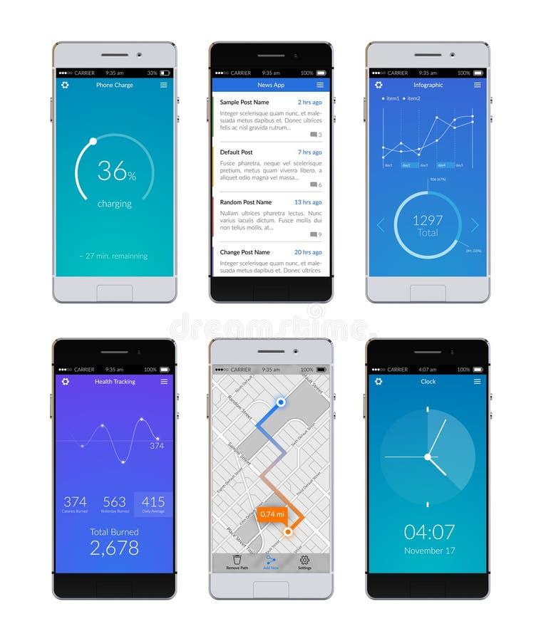 De Reeks van Smartphone Ui royalty-vrije illustratie