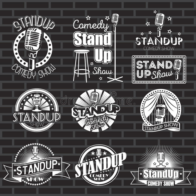 De reeks van standup komedie toont witte etiketten en emblemen met zwarte achtergrond Vectorkentekens en stickers vector illustratie