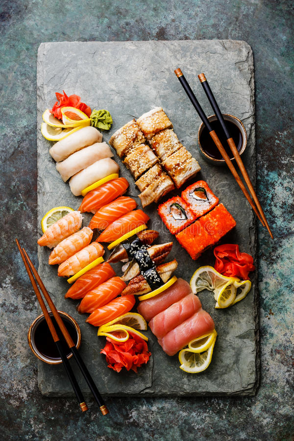 De reeks van sushi royalty-vrije stock foto