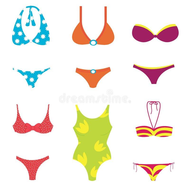 De reeks van Swimwear vector illustratie