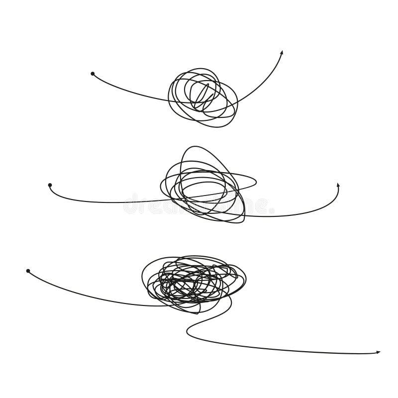 De reeks van symbool van ingewikkelde manier met gekrabbeld om element, chaosteken, gaat de manier lineaire pijl met clew of verw royalty-vrije illustratie