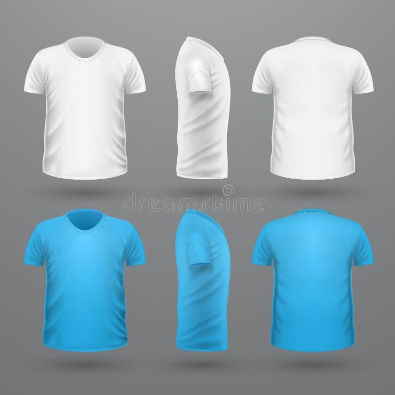 De Reeks van t-shirtteplate Front Side Back View Vector vector illustratie