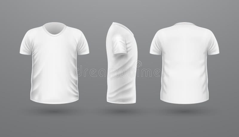 De Reeks van t-shirtteplate Front Side Back View Vector royalty-vrije illustratie