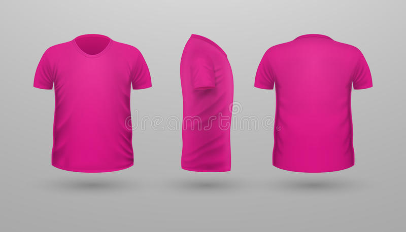 De Reeks van t-shirtteplate Front Side Back View Vector vector illustratie