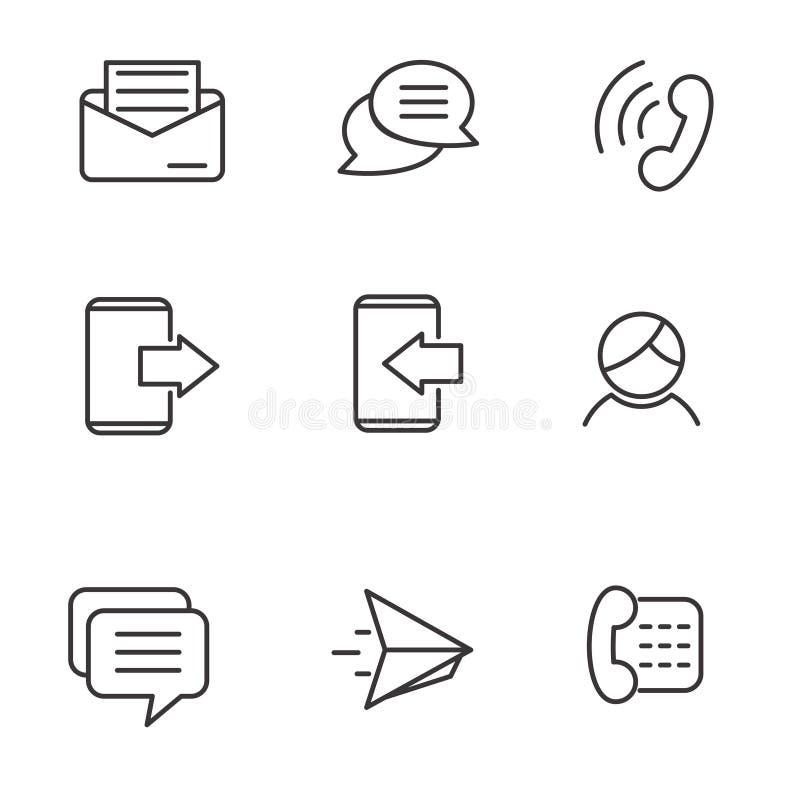 De reeks van telefoon, overseinen en praatjepictogram bracht met eenvoudig lijnontwerp met elkaar in verband vector illustratie