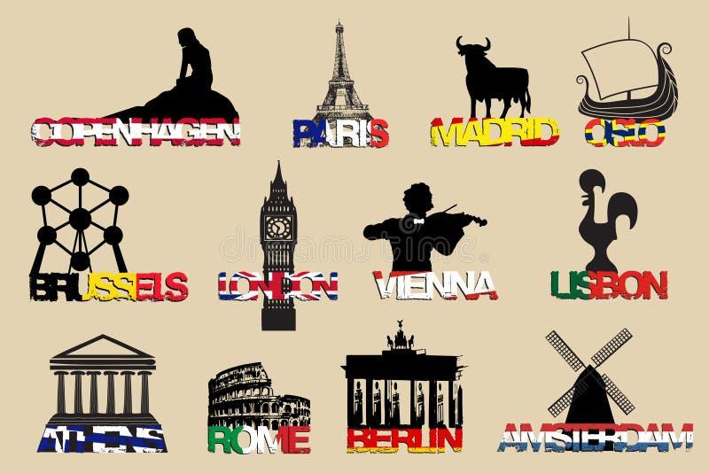 De reeks van toeristensumbol Europese kapitalen Vectorillustrattion royalty-vrije illustratie