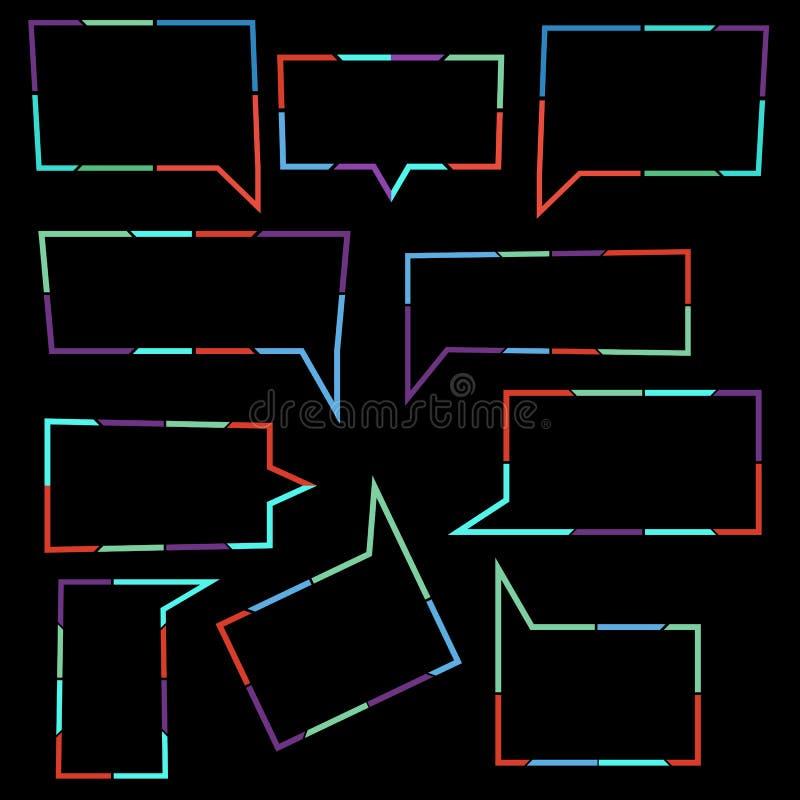 De reeks van Toespraak borrelt lineaire pictogrammen van kleurrijke gestippelde lijnen royalty-vrije illustratie