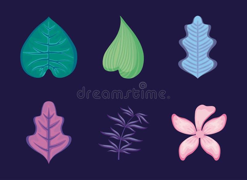 De reeks van tropisch doorbladert en bloem vector illustratie