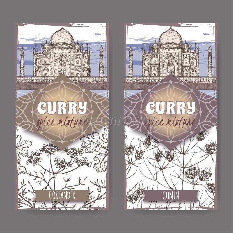 De reeks van twee etiketten met koriander, de komijn en Taj Mahal-getrokken de hand kleuren schets vector illustratie