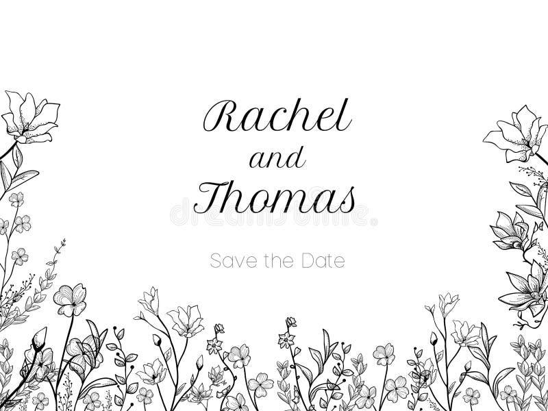 De reeks van de uitnodiging van de huwelijkspartij en bewaart de malplaatjes van de Datumkaart met Lelietje-van-dalenbloemen over vector illustratie