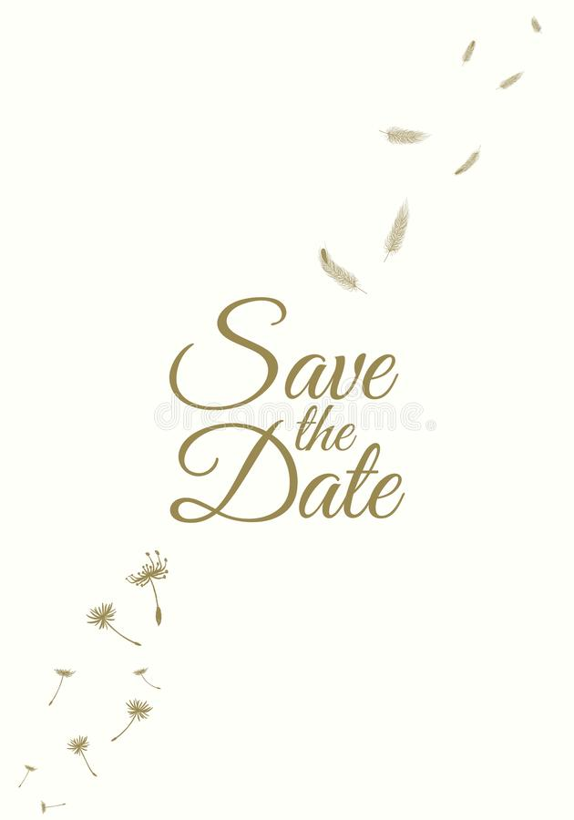 De reeks van de uitnodiging van de huwelijkspartij en bewaart de malplaatjes van de Datumkaart met Lelietje-van-dalenbloemen over royalty-vrije illustratie
