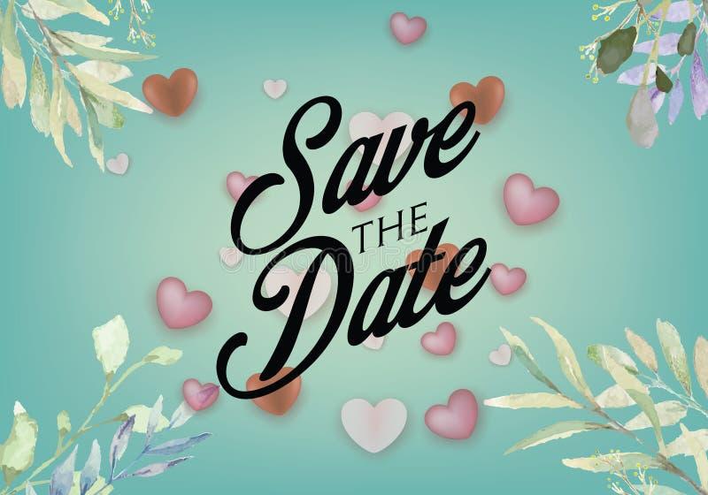 De reeks van de uitnodiging van de huwelijkspartij en bewaart de malplaatjes van de Datumkaart met Lelietje-van-dalenbloemen over stock illustratie
