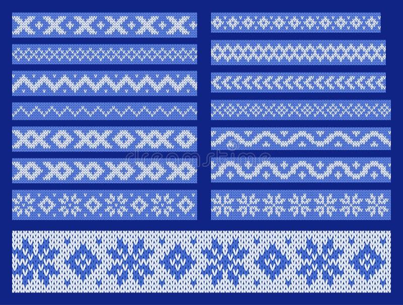 De reeks van vector breide sierlijnen stock illustratie