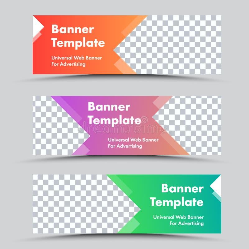 De reeks van vector kleurde Webbanners met pijlvormen en plaatst voor foto vector illustratie