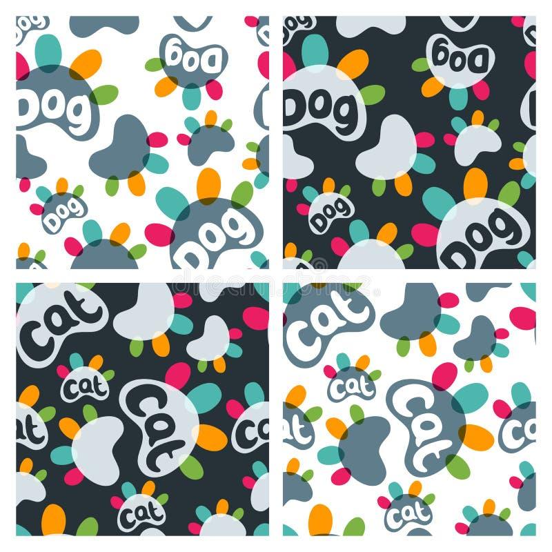 De reeks van vector naadloos patroon met kleurrijke kat en hond handtastelijk wordt en hand getrokken brieven stock illustratie