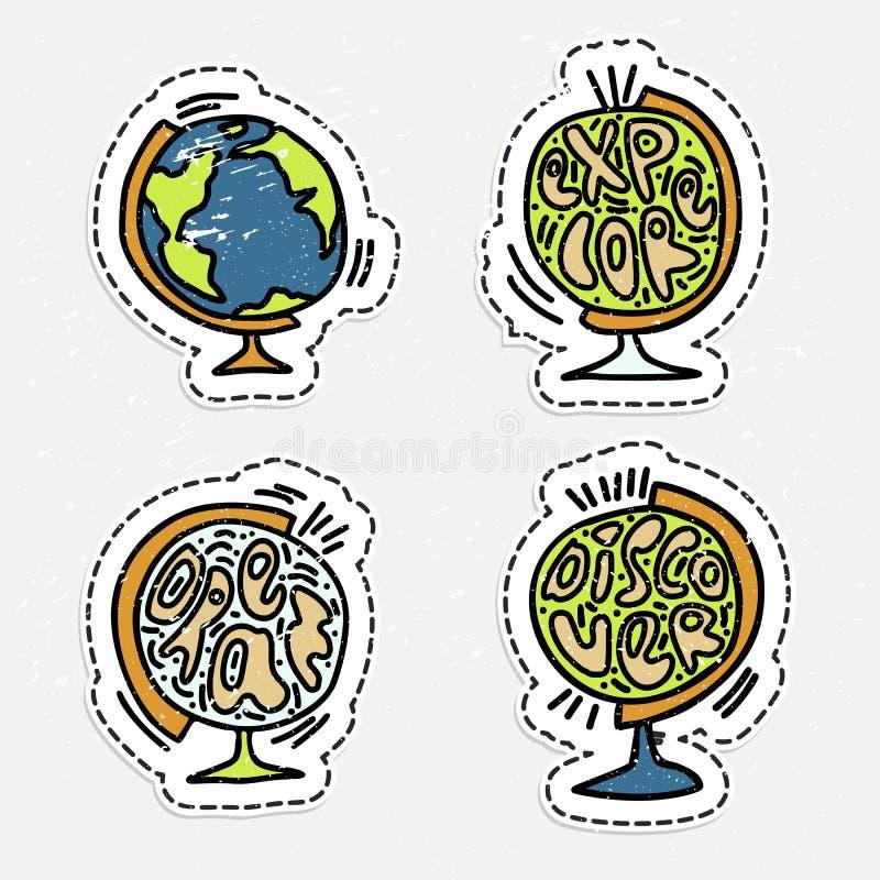 De reeks van vectorhand trekt bol met het van letters voorzien over reis, droom en onderzoekt De stickers van de bolreis - reis e royalty-vrije illustratie