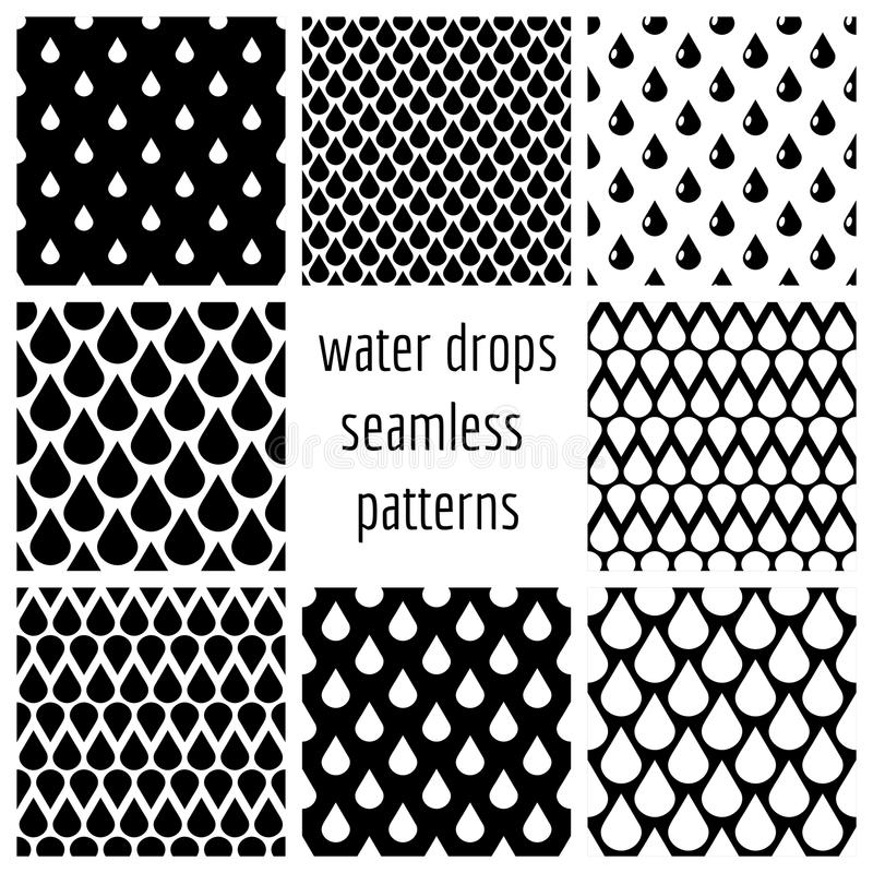 De reeks van vectorwater laat vallen naadloze patronen in zwart-wit royalty-vrije illustratie