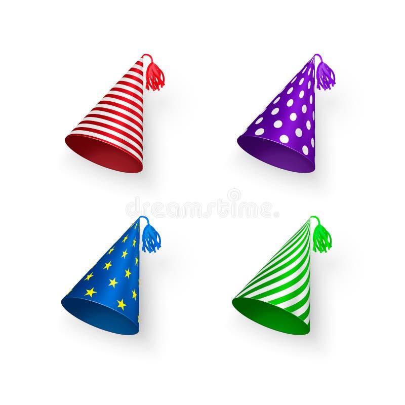 De reeks van de verjaardagshoed De kleurrijke Verjaardagshoeden met geometrische patronen omcirkelt strepen en sterren Vectordiei royalty-vrije illustratie