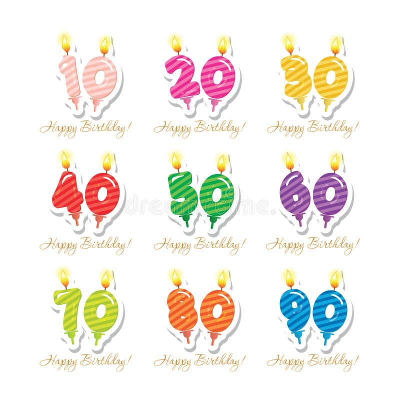 De reeks van de verjaardagsverjaardag Kaarsen kleurrijke aantallen van 10 tot 90 Verwijder decoratieve stickers Vector royalty-vrije illustratie