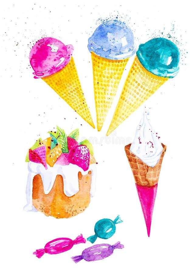De reeks van verschillend roomijs, het suikergoed en Pasen koeken met bessen en vruchten Waterverfillustratie op witte achtergron stock illustratie