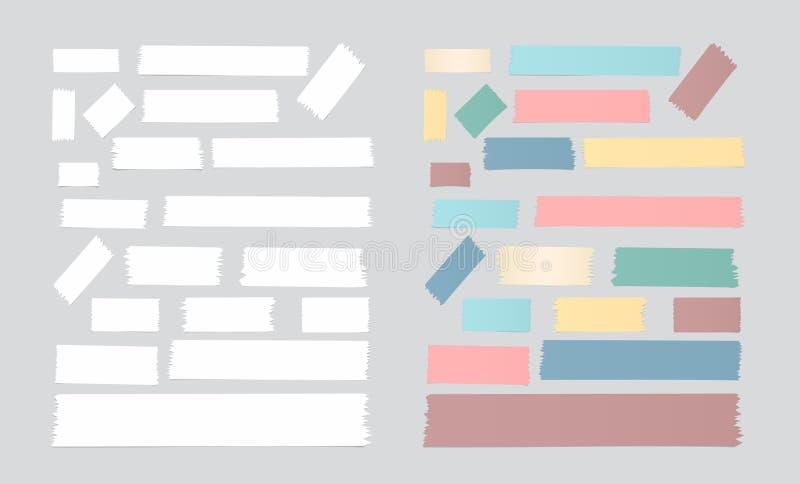 De reeks van verschillende grootte, kleurrijk en wit kleverig document, kleefstof, afplakband is op grijze achtergrond stock illustratie