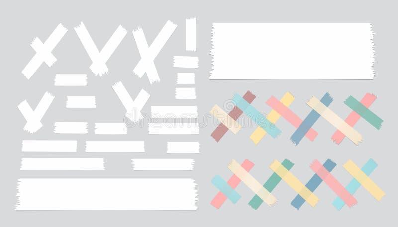 De reeks van verschillende grootte, kleurrijk en wit kleverig document, kleefstof, afplakband is op grijze achtergrond royalty-vrije illustratie