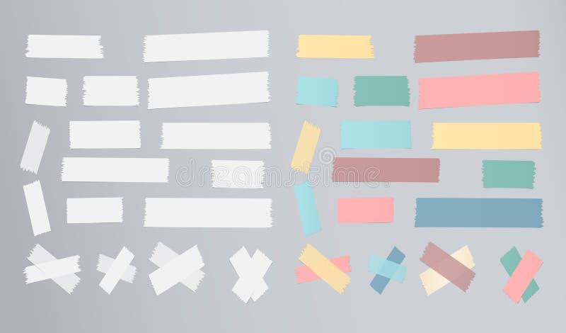 De reeks van verschillende grootte, kleurrijk kleverig document, kleefstof, afplakband is op grijze achtergrond stock illustratie