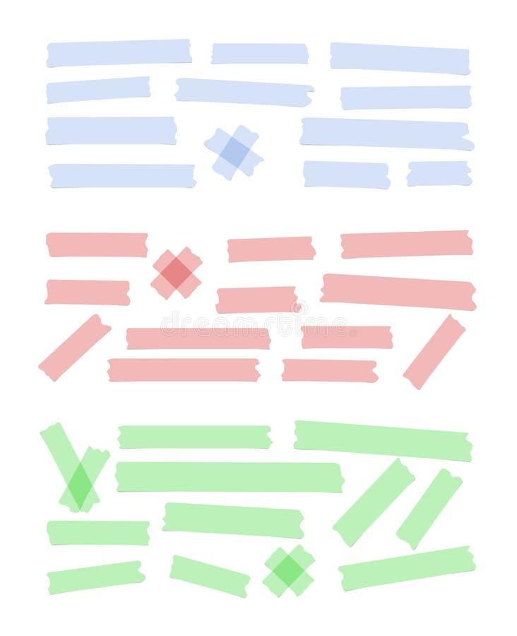 De reeks van verschillende grootte, kleurrijk kleverig document, kleefstof, afplakband is op witte achtergrond stock illustratie