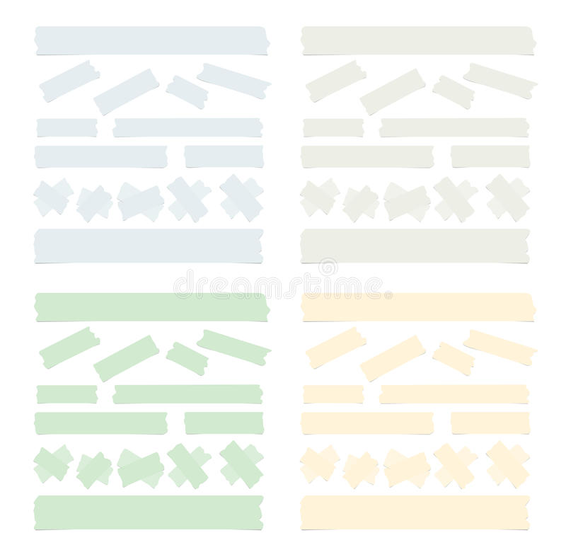 De reeks van verschillende grootte, kleurrijk kleverig document, kleefstof, afplakband is op witte achtergrond royalty-vrije illustratie