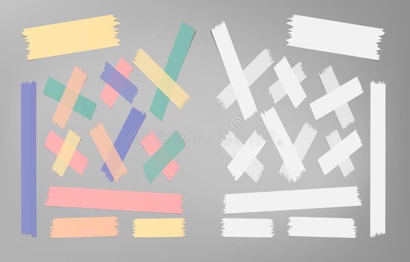 De reeks van verschillende grootte, kleurrijk kleverig document, kleefstof, afplakband plakte op grijze achtergrond stock illustratie
